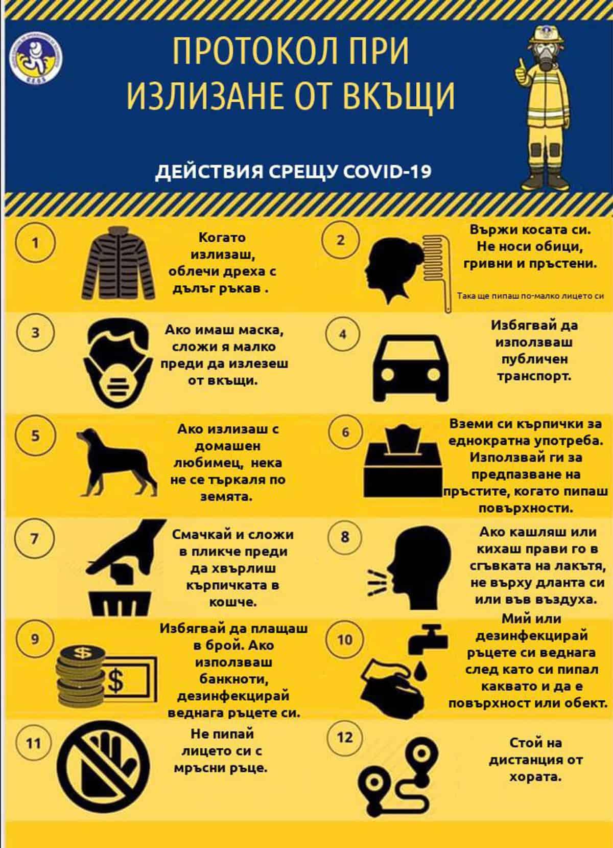 правила за защита от коронавирус при излизане от вкъщи